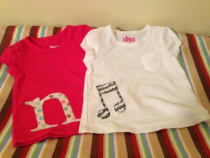 $7 appliqued girls shirts from sizes 12 months to 4T