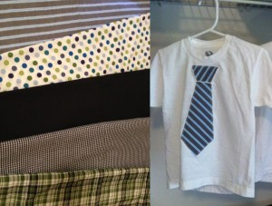 $ 7 Boys Size 2-3 or 4-5 shirt with applique tie (additional fabrics available)